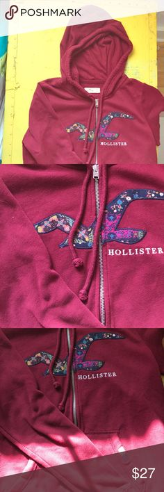 Hollister Zip Hoodie. Size Large in Maroon. Hollister Zip Hoodie in maroon. Excellent condition. Only worn twice. Size Large (this brand runs smaller than normal). Hollister Tops Sweatshirts & Hoodies
