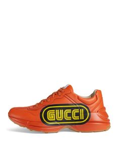 Gucci Men s Rhython Logo-Print Leather Sneaker Uomo Gucci 873dd8171c3c
