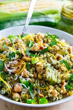 Pesto Zucchini And Corn Quinoa Salad With Quinoa, Water, Olive Oil, Garlic, Zucchini, Corn, Salt, Pepper, Chickpeas, Green Onions, Pinenuts, Basil Pesto, Lemon Juice