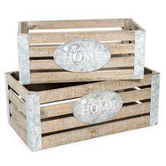 2 houten kistjes, lengte 32 cm en 39 cm, HOME