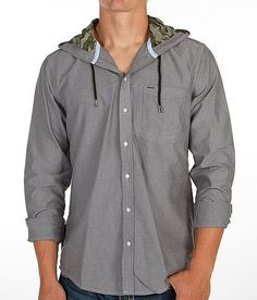 Hurley Ace Oxford Shirt with hood -gray/green camo - from Bubkle