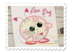 Love Bug Applique - 4 Sizes! | Words and Phrases | Machine Embroidery Designs | SWAKembroidery.com Katelyn's Kreative Stitches