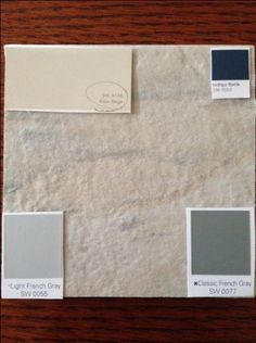 Tile with my chosen paint colors from Sherwin Williams: Kilim Beige, Light French Gray, Classic French Gray and Indigo Batik. Tile Paint Colours, Bathroom Paint Colors, Paint Colors For Living Room, Color Tile, Wall Colors, Kilim Beige Sherwin Williams, Beige Tile Bathroom, Indigo, Beige Walls