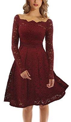 5c0f4abda973 Women's Long Sleeves A line Dresses Lace Square Gown Burgundy Red S at Amazon  Women's Clothing store:
