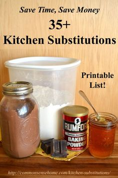 Save time and money with this printable list of 35+ Kitchen Substitutions . Substitutions for sweeteners, leavening, flours, spices, measurements and more.: Cooking Projects, Cooking Baking Tips, Kitchen Hints Tips, Recipes, Cooking Tips, Food Substitutes