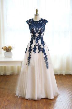 Prom Dresses Long Modest, Ivory Prom Dresses, A Line Prom Dresses, Tulle Prom Dress, Dance Dresses, Evening Dresses, Dress Long, Tulle Lace, Bridesmaid Dresses
