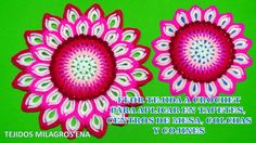 Flor de 32 pétalos a crochet paso a paso para aplicar en tapetes, centro...