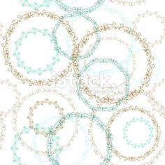 Vintage seamless patern, blue brown circle on white background. Vector Royalty Free Stock Vector Art Illustration