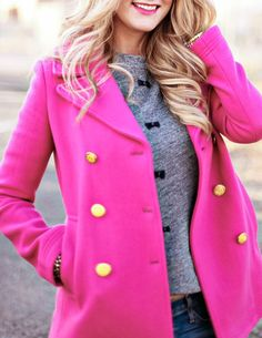 Pink overcoat could cheer up any winter day!