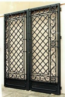 Sile Wrought Iron Door Models Previous Post Next Post Steel Grill Design, Grill Door Design, Wrought Iron Decor, Wrought Iron Gates, Grill Gate, Double Door Design, Iron Gate Design, Steel Security Doors, Metal Gates