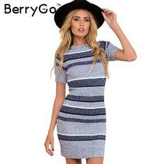 BerryGo Sexy knitted blue striped bodycon dress Autumn winter short sleeve women dress 2016 Elegant evening party sexy dresses