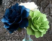 Paper Flowers - Wedding Decorations - Home Decor - X-Large Flowers - Set of 3 - Midnight Blue - Apple Green - Ivory - MADE TO ORDER