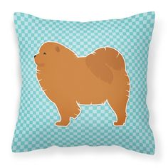 Chow Chow Checkerboard Blue Fabric Decorative Pillow BB3751PW1818