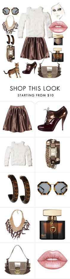 """""""Metallic Mini Pleated Skirt"""" by hollybgdesigns ❤ liked on Polyvore featuring Lanvin, Hollister Co., XOXO, Alexa Starr, Karen Walker, Skinny by Jessica Elliot, Gucci, Fendi, Lime Crime and Bobbi Brown Cosmetics"""