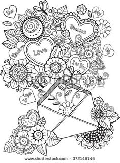 With love letter. I love you. #coloringpage