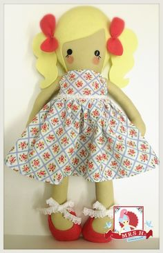 """19"""" handmade doll wearing a removable party dress and shoes Suitable from birth Hand wash onlyA Mrs.H original design ©2013"""