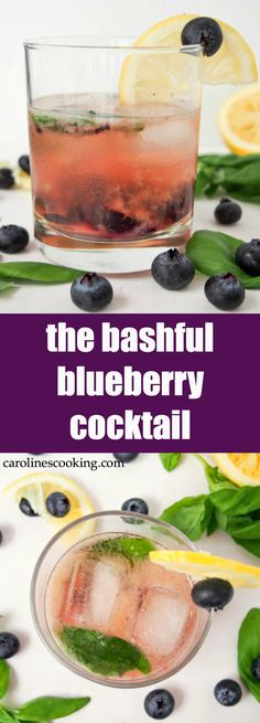 This bashful blueberry cocktail is a delicious mix of blueberries, lemon, vermouth, whiskey and a hint of basil. Topped with soda, it's a refreshing drink perfect for summer sipping. Easy to make & easy to enjoy! #FWCon #BerryDelish