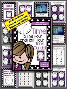 Time To The Hour AND Half Hour Task Cards and Recording Sheet For 1.MD.B.3 #TPT $Paid