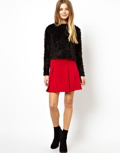 $16, Red Skater Skirt: Box Pleat Skater Skirt In Ponte by Asos. Sold by Asos. Click for more info: http://lookastic.com/women/shop_items/101898/redirect