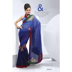 Shaded Blue Faux Georgette saree