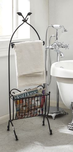 Bathroom Racks U0026 Fixtures, Black Metal Magazine Rack U0026 Towel Holder ☆  Creative Co