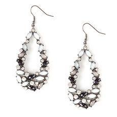 Glitter Marquis Stone and Crystal Teardrop Drop Earrings