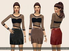 The Sims Resource: Leather and Fringes Skirt by Paogae • Sims 4 Downloads