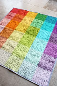 super simple rainbow quilt