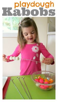 Use playdough for pretend kabobs!  Kids can learn about patterns, work on fine motor skills, and have fun pretending to cook!