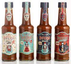 Embalagens criadas pelo ilustrador SteveSimpson para Mic's Chilli.