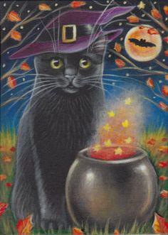 Cat Art...=^.^=...♥... By Artist Unknown... Samhain Halloween, Cute Halloween, Halloween Themes, Vintage Halloween Images, Halloween Pictures, Halloween Friday The 13th, Black Cat Art, Black Cats, Halloween Painting