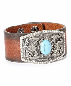 Another great find on #zulily! Turquoise & Rhinestone Leather Belt Bracelet #zulilyfinds