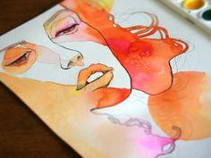 Fashion illustration I did today #orange #pink #girl #art www.etsy.com/shop/fasharthome