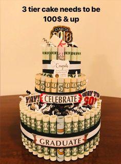 Graduation Class of 2020 Gift Graduation Money Cake Graduation Gift Create A Cake, How To Make Cake, Lottery Ticket Gift, Money Bouquet, Money Cake, Money Lei, 50th Cake, Caking It Up, Gift Cake