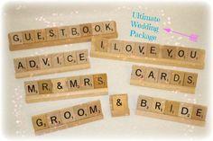 Wedding Decor 8 piece Scrabble decorations by HidingPlaceBoutique