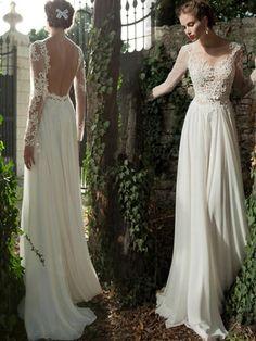 A-line Scoop Floor-length Long Sleeve Chiffon Wedding Dress # VB572