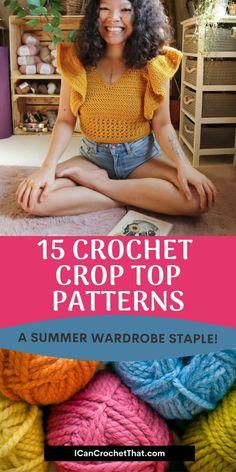 Easy Crochet Hat Patterns, Crochet Shawls And Wraps, Crochet Baby Hats, Crochet Patterns For Beginners, Cute Crochet, Crochet Clothes, Crochet Top, Crochet Tank Tops, Crochet Shirt