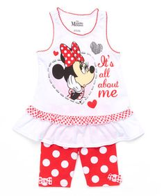 Look what I found on #zulily! Red Polka Dot Minnie Mouse Ruffle Tank & Shorts - Girls #zulilyfinds