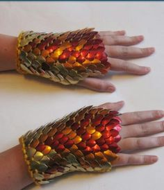 Items similar to Dragonhide Armor Gauntlets Phoenix knitted scale maille by Crystalsidyll on Etsy Larp, Dragon Costume, Warrior Costume, My Sun And Stars, Mo S, Chainmaille, Looks Cool, Costume Design, Cosplay Costumes