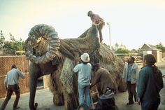Dressing Mardji the elephant as a bantha for a Tusken Raider scene on the set of Star Wars