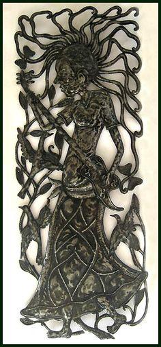 "Guitarist Metal Drum Wall Hanging - Haitian Metal Art Sculpture - 17""x 34"" -$85.95  - Steel Drum Metal Art from  Haiti - Interior Decor or Garden Décor - Caribbean Art   * Found at  www.HaitiMetalArt.com"