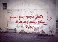 Parce que sans folie Murals Street Art, Street Art Graffiti, Street Quotes, Graffiti Tagging, French Quotes, Land Art, Some Words, Beautiful Words, Picture Quotes