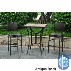 International Caravan Barcelona Resin Wicker/ Aluminum Bar-height Patio Bistro Set (Set of (Black Antique), Patio Furniture Outdoor Dining Set, Patio Dining, Dining Rooms, Kitchen Dining, Outdoor Bars, Outdoor Storage, Outdoor Spaces, Outdoor Living, 3 Piece Bistro Set