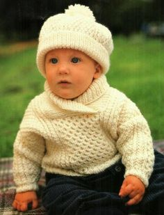 PDF DIgital Baby Childrens Knitting Pattern Aran Sweater Jumper and Hat Chest 18-24  £1