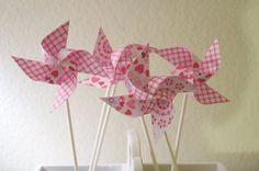 GINGHAM Wedding deocr 12 Mini Pinwheels Pink Heart by aubabi78, $13.20