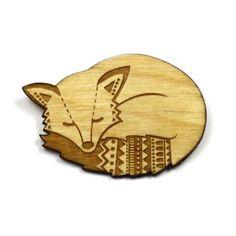 sleepy fox brooch