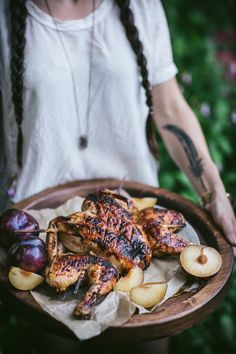 Barbecue Plum Spatchcock Chicken + A How To Video http://adventuresincooking.com/2017/07/barbecue-plum-spatchcock-chicken.html
