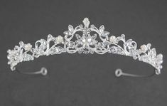 Scrolling Petite Pearl Tiara - Cassandra Lynne Wedding Tiaras, Wedding Hair, Stylish Petite, Ivory Pearl, Bridal Tiara, Bridal Accessories, Stones And Crystals, Pearls, Silver
