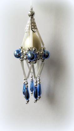 Vánoční+ozdoba+z+foukaných+perel+Lustřík+modrý
