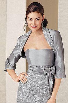 Gray Embroidery 3/4 Length Sleeves Wrap [WWCJ0170]- AU$ 54.56 - DressesMallAU.com